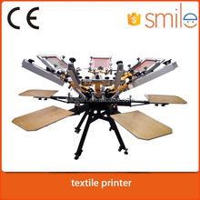 6 color 6 station t-shirt manual silk screen printing machine with flash dryer
