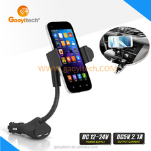 Universal Dual USB Port Gooseneck Mobile Phone Car Holder With Charger 360