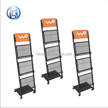 Metal wire leaflets holder rack with wheels HS-Zl06