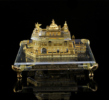 India 24K gold Plated Crystal Golden Temple Model, crystal Sikhism souvenir gift JC-TG 01