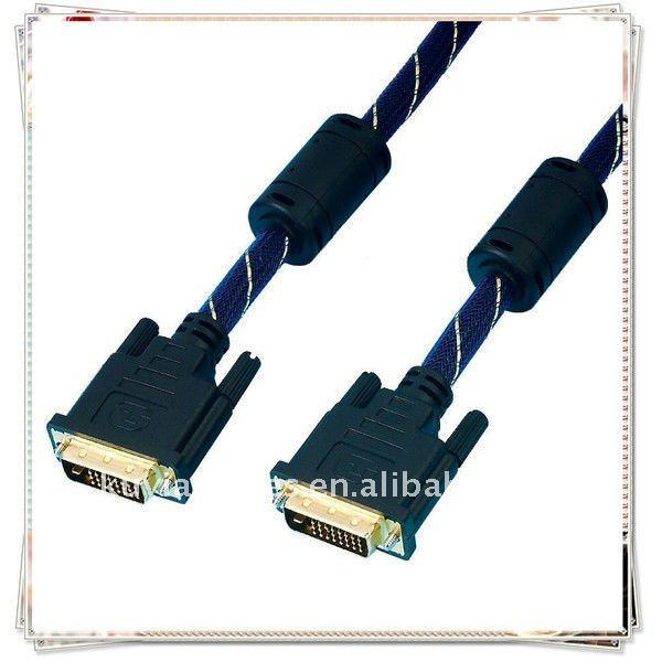 High Quality Gold Plated 3m Black DVI TO DVI CBALE (24+1) male to male with nylon mesh jacket 2 Ferrit FOR SAMSUNG MONITOR ,DELL
