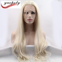 Wholesale Heat Resistant Fiber Hair Free Style Long Straight Halloween White Blonde Synthetic Lace Front