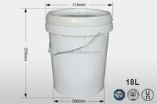 18L high quality 100% virgin pp plastic round paint buckets with handle and lid for liquid
