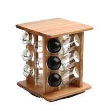 kitchen revolving wooden spice rack
