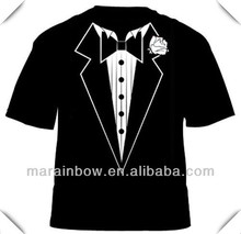 China supplier Full body sublimation printed Tuxedo dress T Shirt wholesale cheap price