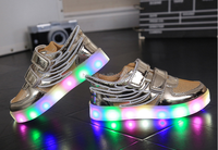 Colorful High Quality Led lights kids shoes USB Charging shoes with angel wing