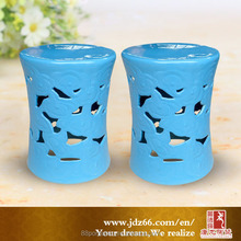 Modern style excellent quality hollow aqua glazed ceramic dice stools for garden decoration
