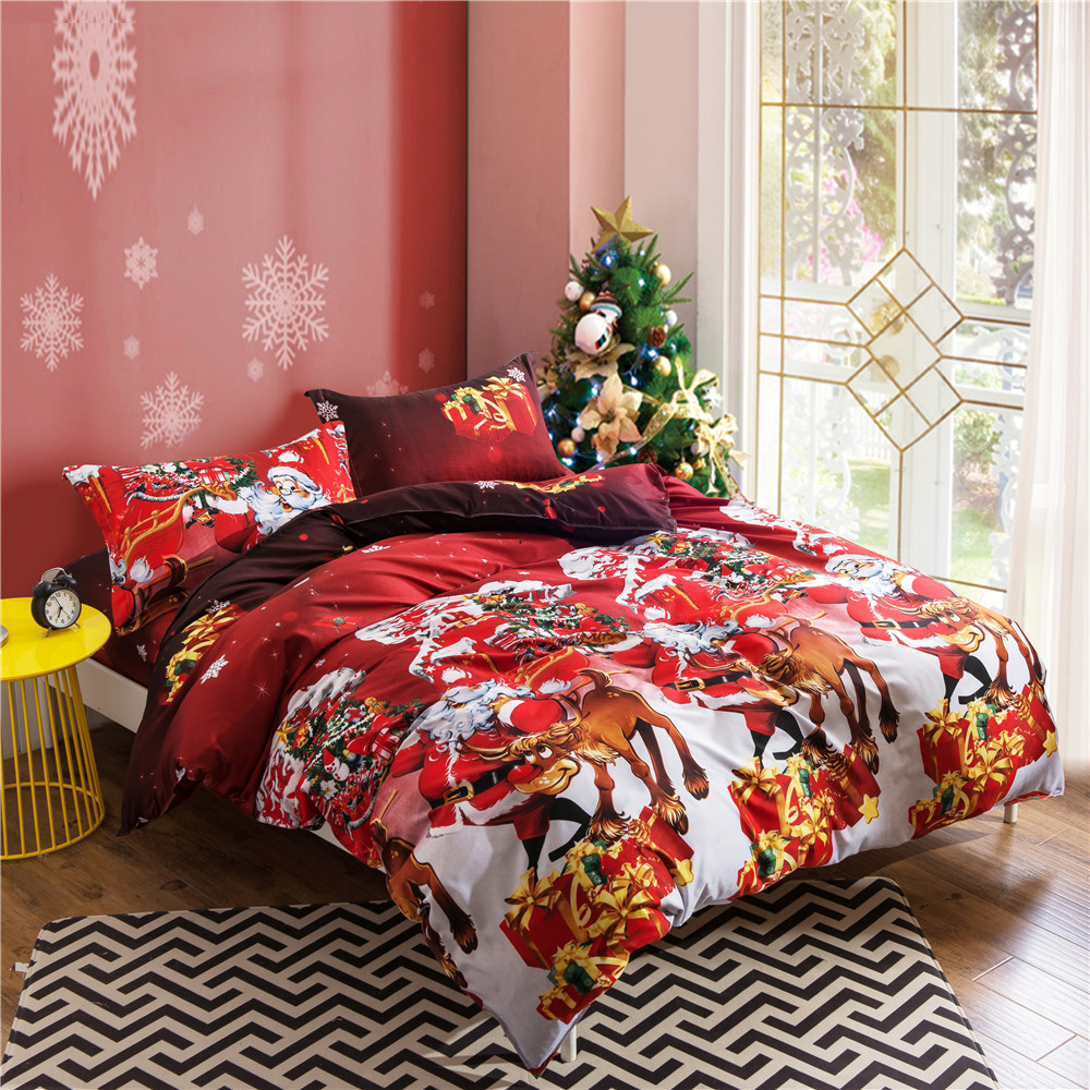 Promotional princess bedding 4pcs bed sheet sets duvet cover Christmas tree bedding sets cotton bed sheet