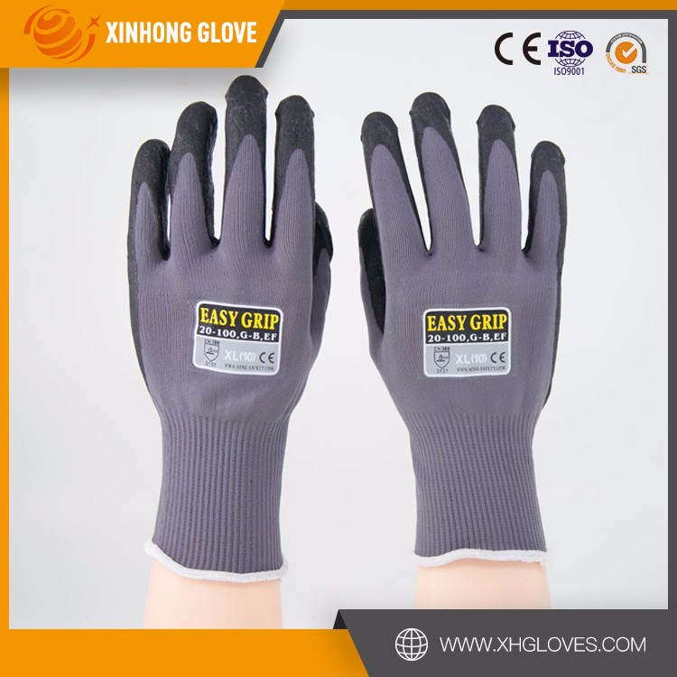Low Price Full Micro Foam Nitrile Coated Nylon/Spandex Liner Anti-dust Purple Safety Working Gloves