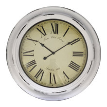 23 inch White Plastic Wall Clock European Style Retro Vintage Clock Non - Ticking with HD Glass Easy to Read