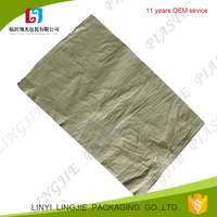 russian use cheap pp woven green bag for packing garden waste, construction garbage, rubbish, box packaging