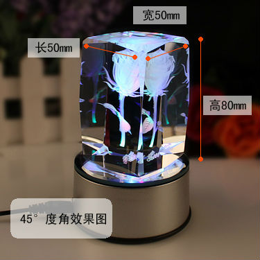High Quality 3D Laser Crystal with LED light and MP3 Player and Remote Control Function
