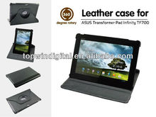 Good quality 360 degree rotating genuine leather case for Asus TF700 with multi angle