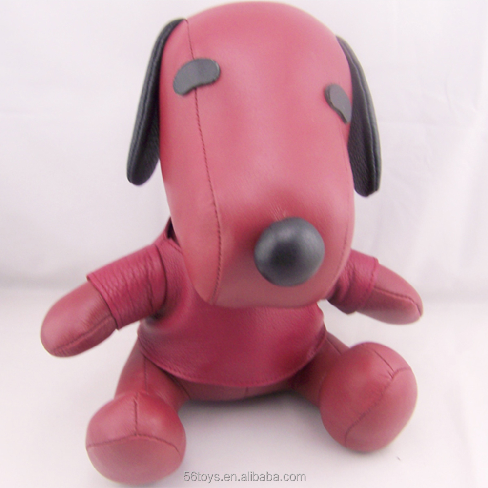 custom PU leather stuffed animals red Snoopy dog with removable clothes