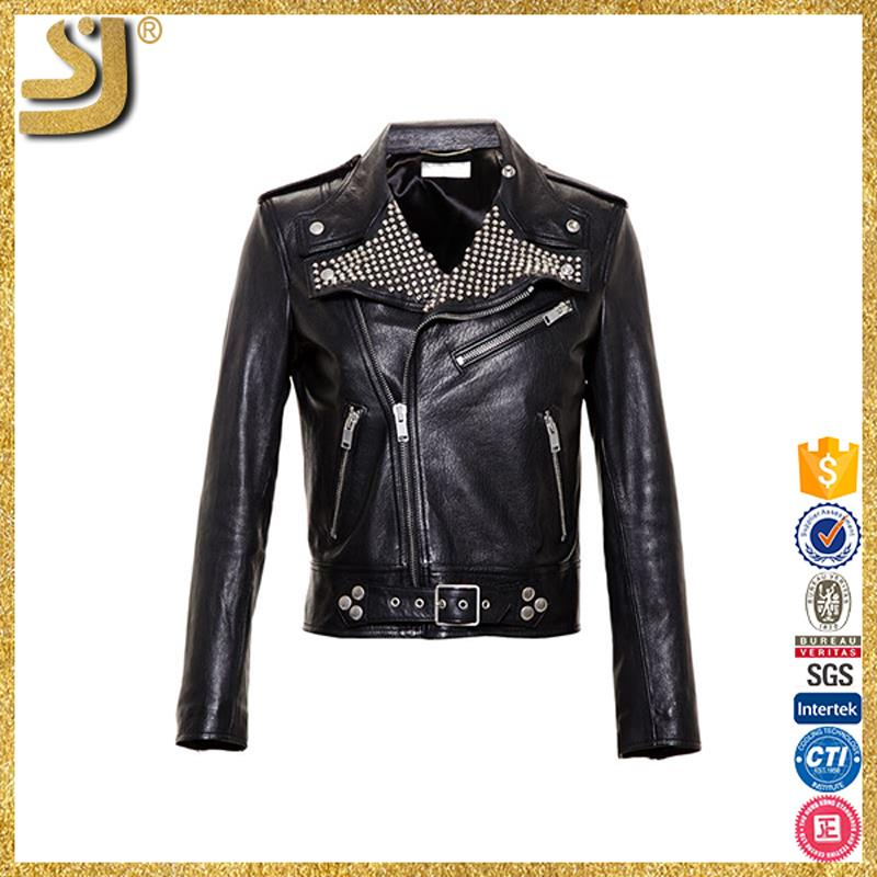 New Arrival lady bikers leather jacket, 2016 custom woman's winter jacket casual motorcycle leather jacket
