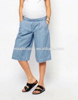 Chic Wholesale Price Pregnant Maternity Maternity Cotton Chambray Wide Leg Culottes