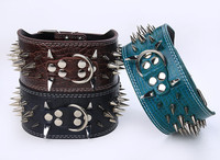 3 inch Width Berry Pu Leather Sharp Spikes Big Dog Pet Collar For Pitbull S M L