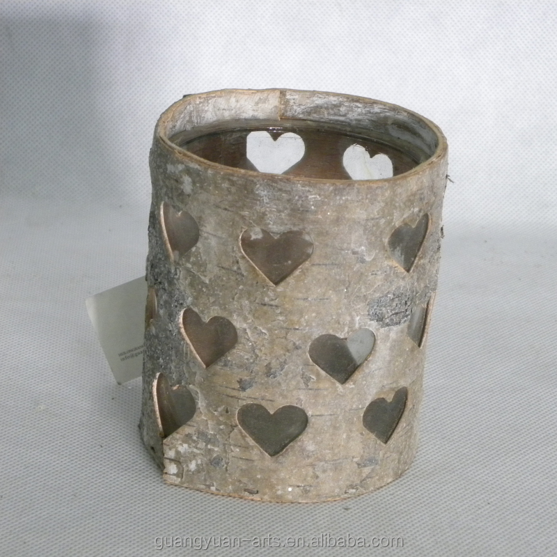 BSCI natural birch bark crafts white washed candle holder lanterns