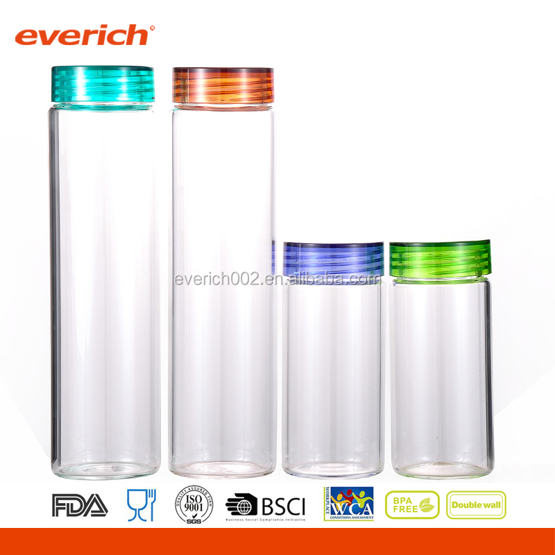 600ml Borosilicate Clear Glass Water Bottle with Screw Cap