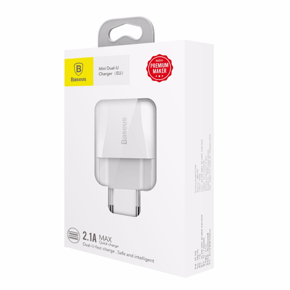 Baseus Mini Universal USB <strong>2</strong>.1A Charger EU Plug Travel Wall Charger Adapter Smart Mobile Phone Charger For iPhone Samsung Tablet