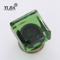 wholesale square green color crystal knobs for dresser