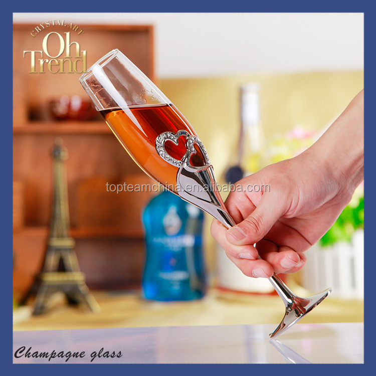 Wholesale hand made unique colored champagne glass flute with metal and crystal rhinestone element