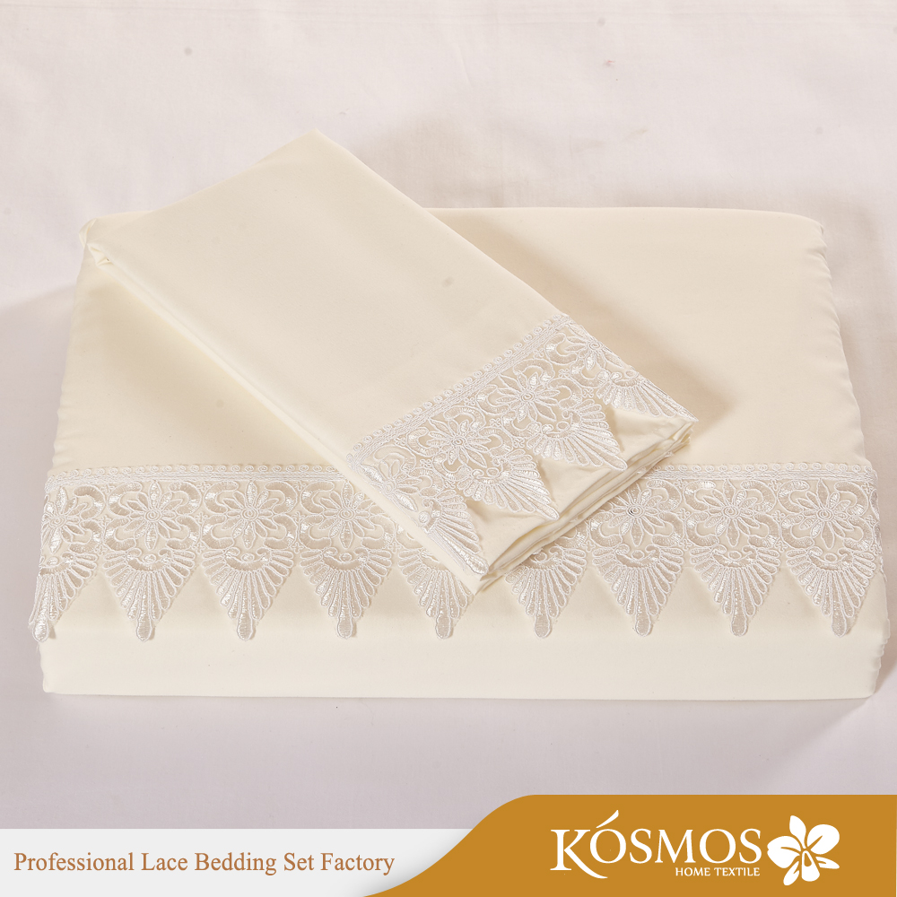 KOSMOS bedding set polycotton duvet cover sets lace embroidery bed sheet