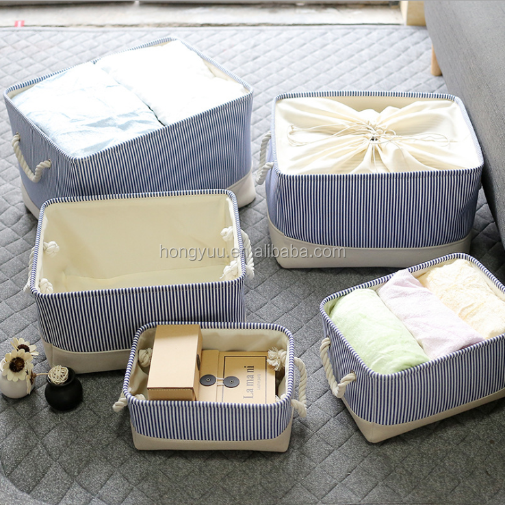 Canvas Collapsible Storage Bin Folding Laundry Stripe Basket Container with Cotton Rope Carry Handles