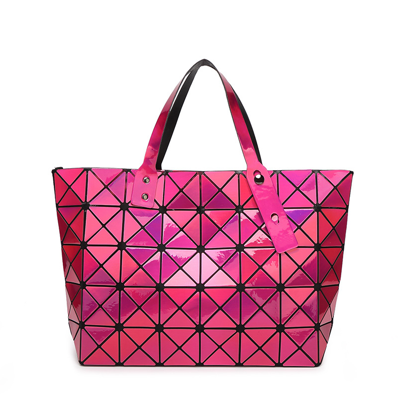 Newest Mirror Messenger Hand Bags And Purse Multi Reflective Colors Stitching Laser Bags Women Pu Geometric Bag
