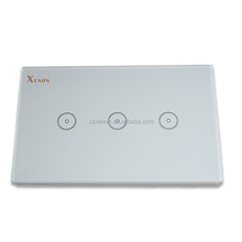 Xenon WiFi smart touch glass US 3 gang 1 way wall panel <strong>switch</strong> remote control crystal glass touch panel <strong>switch</strong>