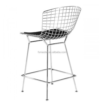 Chromed wire PVC cushion high bar stool