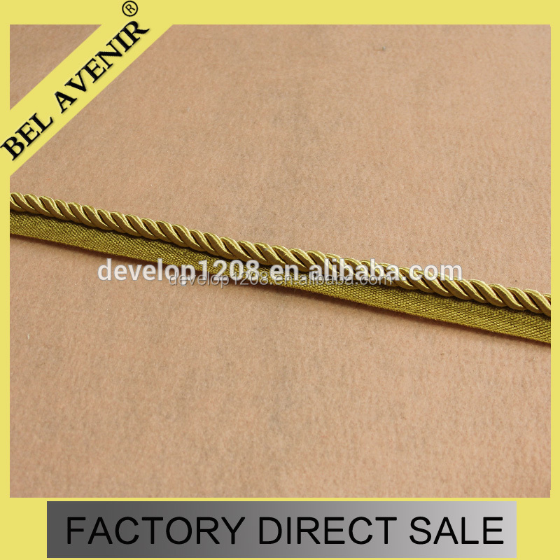 Wholesale 1cm width Tassel Fringe Cord Twisted paper Cord for curtain