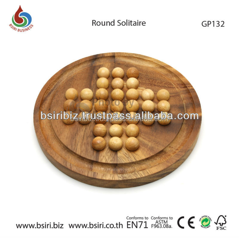 Wooden Round Solitaire Boards