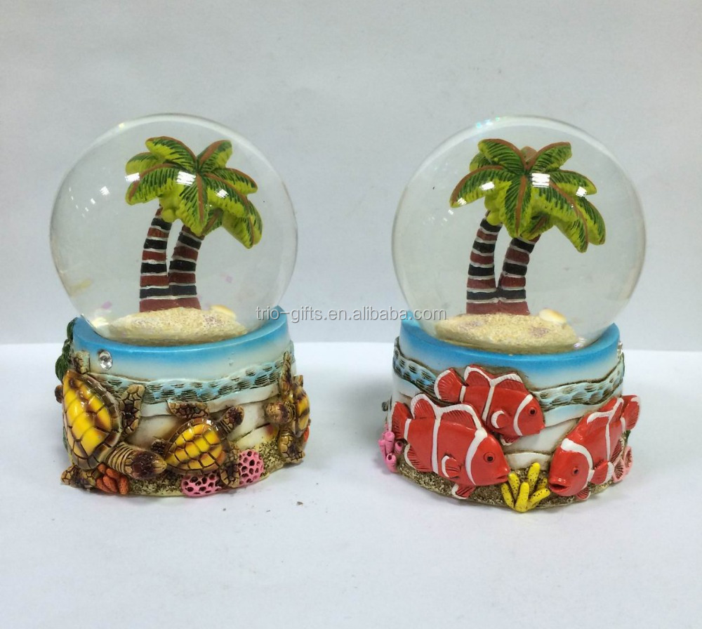 water filled glass globe with detailed colourful resin figurine 65mm