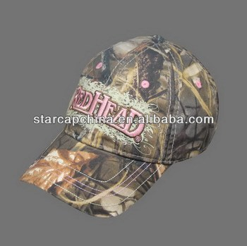 COTTON WASH CAMO FABRIC BASEBALL CAP WITH EMBROIDERY
