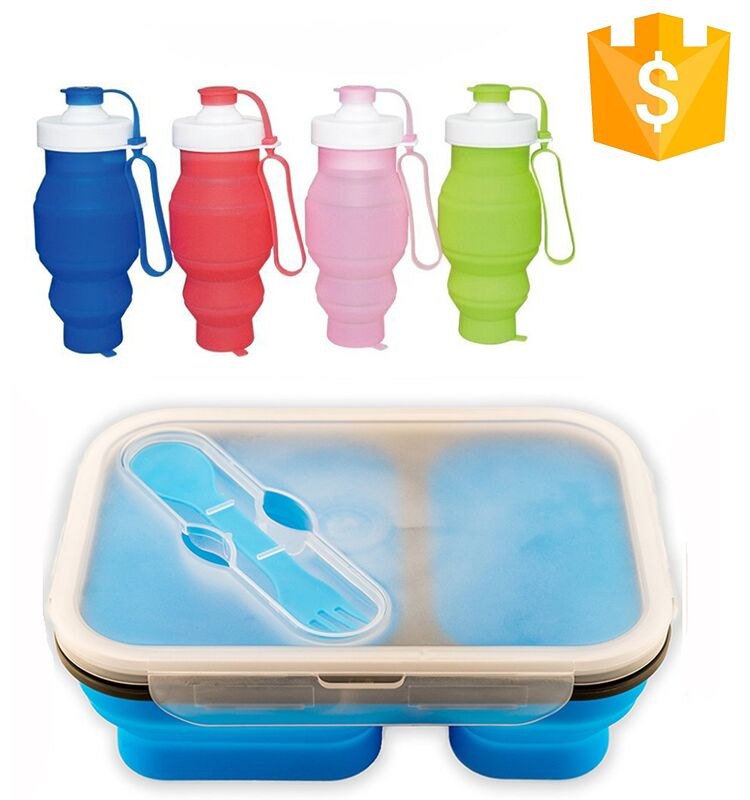 Outdoor 100% food grade 500ml 750 ml foldable silicone collapsible lunch box with water bottle