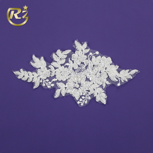 LH-316R1 Bride Dressing Pearl Accessories New Full Beaded Lace Sew On Unique Embroidery Applique