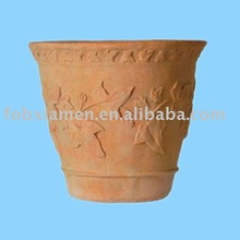 Clay pot decorative carving flower holder