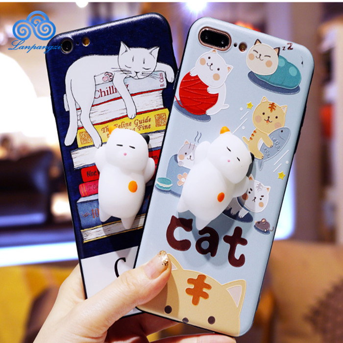 Cute Silicone 3D Cartoon Squishy Cat Mobile Phone Squishy Pinch Case Phone Cover/Cell Phone Case