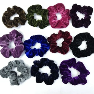 BSCI audited hair accessories factory wholesale elastic hair ties velvet hair scrunchies
