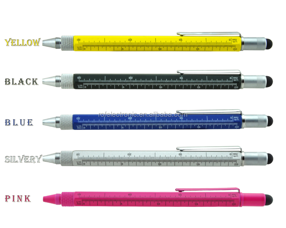 Cooper 6 in 1 tech tool ballpoint pen with gradienter,ruler,screw driver tech tool pen