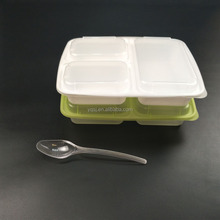 1000ml / 36oz black 3 compartments plastic hot food / meal prep bento / container / box for sale manufacturer
