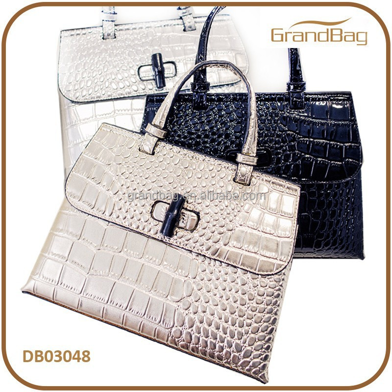 Hot Sale New Fashion Bling Bling Crocodile Emboss PU Leather Lady Hand bag PU Shoulder bags