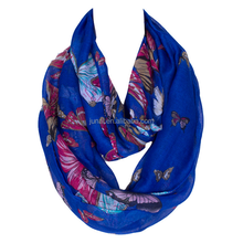 Factory direct China wholesale fashion circle loop infinity butterfly print scarf
