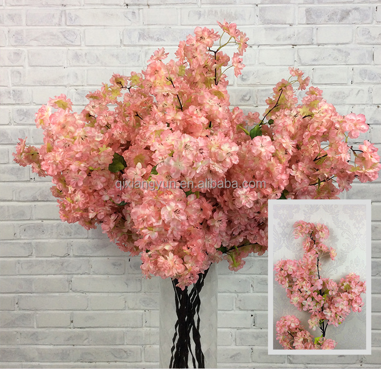 Hot selling 2017 very popular plastic flower silk cherry blossom of artificial flowers