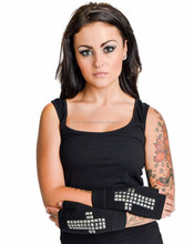 NEW 2015 GOTHIC WOMENS TOO FAST Fingerless Gloves cross studs biker Tattoo Rockabilly EMO GOTHIC MOTO