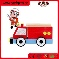 Mini educational kids toy wood car wholesale