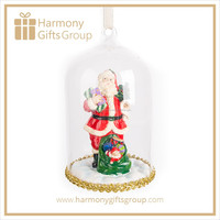 Santa Christmas Decoration Glass Dome Ornament