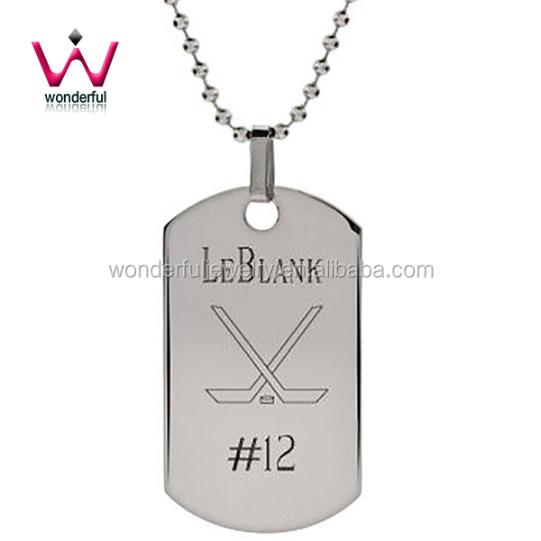 Engraved Stainless Steel Hockey Dog Tag Pendant