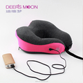 Memory foam travel pillow with electric heated neck pillow support